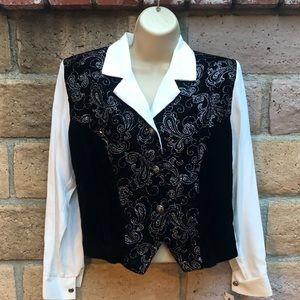 PM- Vintage Glitter button blazer w/ shoulder pads
